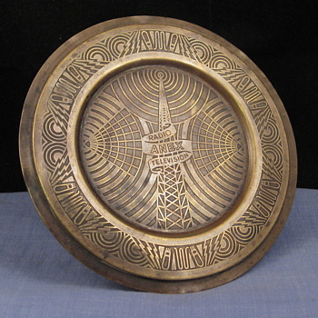 Unusual vintage brass Radio & Television Advertising Pin Tray with Fabulous Art Deco Designs!  - Advertising
