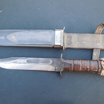 WWII  KA - BAR  U.S.N.  MK2 Fighting Knife and NORD - 4723 Scabbard a friend's find - Military and Wartime
