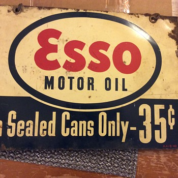 Old esso oil sign - Petroliana