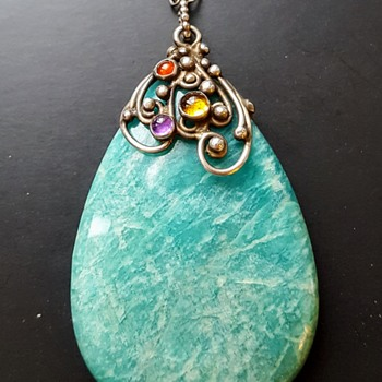 Antique Arts and Crafts silver amazonite and colored stone cabochons drop pendant. - Fine Jewelry