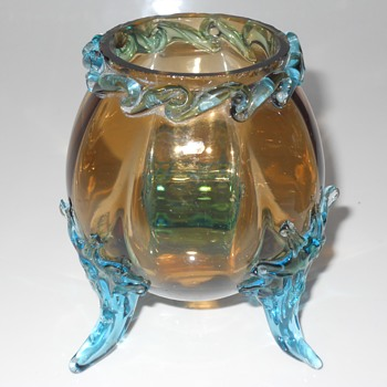Amber Miniature Melon Shape vase, 20 Century - Art Glass