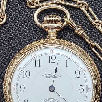 1892 waltham Riverside, model 1888, solid 14kt gold case, 2 tone movement,  near mint, RARE!!! - Pocket Watches