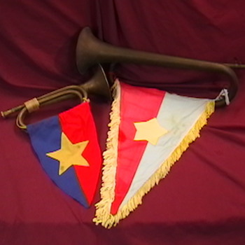 NVA Brass Bugles with Flag Pendants - Military and Wartime