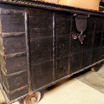 Large Wooden Dome Topped Wheeled Trunk - Asian