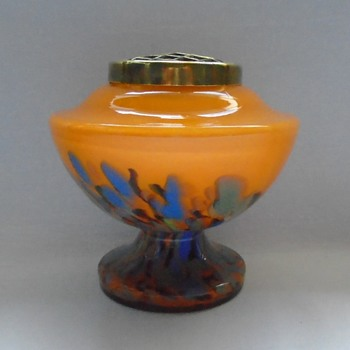 Art Deco Spatter Glass Rose Bowl - Art Glass