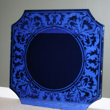 Cobalt blue glass mirror by Nurre - Art Deco