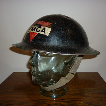 British WWII YMCA steel helmet, (civil defence).