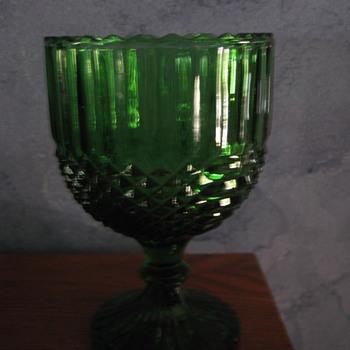 Dark Green Glass Pedestal Bowl-Depression Era?  - Art Glass