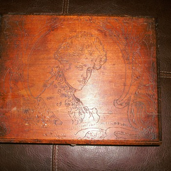 Wooden Box with Victorian Lady carved in lid. - Folk Art