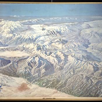 Hal Shelton areal Ski map of Colorado 1965 - Paper