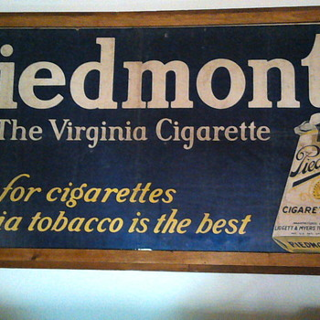 1940's Piedmont cigarette canvas sign - Tobacciana