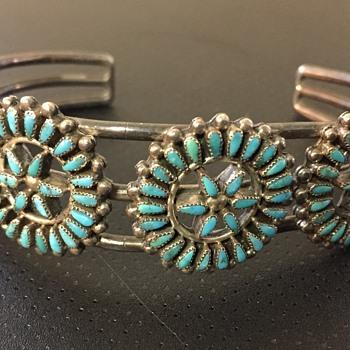 Old Pawn ? Zuni Petit Point Silver Turquoise Cuff Bracelet - Fine Jewelry