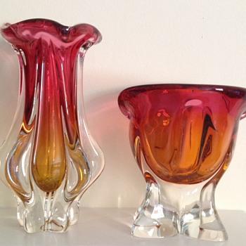 Chribska pair - bowl and vase - Art Glass