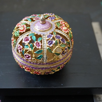 Enamel & Rhinestone Trinket Box - Costume Jewelry