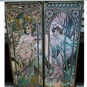 "Alphonse Mucha  "" The Times of The Day"" Prints /""The Guild"" Lithograph Reproductions / Circa 1960's-70's - Posters and Prints"