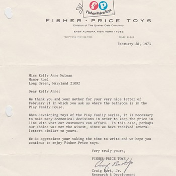 1973 Fisher Price Letter - Paper