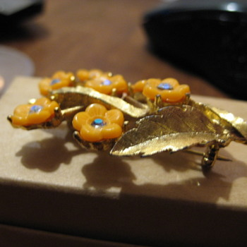Golden Brooch of Orange Pressed Flowers - Costume Jewelry