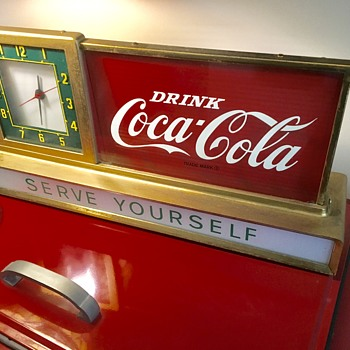 1950's Coca Cola Counter , metal and glass light up clock. - Coca-Cola