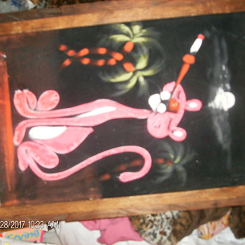 PINK PANTHER VELVET PAINTING - Fine Art
