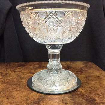 My favorite Cut glass compote with pedestal - Glassware