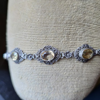 "Silver filigree bracelet marked ""italy 800"" with citrine colored stones, Peruzzi? - Fine Jewelry"