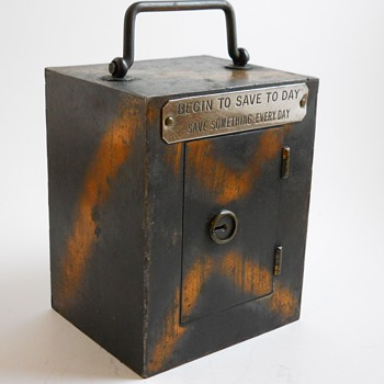"Steel Bank""Begin to Save To Day, Save something Every day""Lodi Steel Box Maker,Lodi, Ohio, Circa 1900"