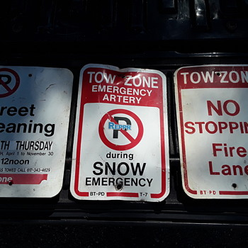 unexpected kindnesses from new friends v.2 -- three new parking signs join the herd here - Signs