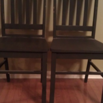 Old Wooden Slat Back Chairs - Furniture