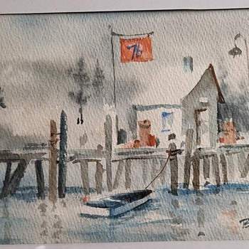 1960s Watercolor of Pier by Bunny Halligan - Fine Art