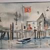 1960s Watercolor of Pier by Bunny Halligan