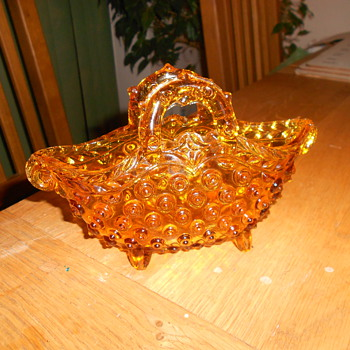 Amber Depression Glass Basket - Glassware
