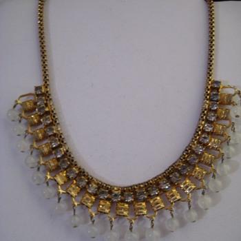 Vintage ART DECO 1920'S Czech Rhinestone and clear glass bead bib necklace - Costume Jewelry