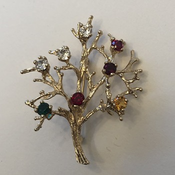 "Gold tone tree brooch w/ multicolor rhinestones marked ""STER. PO""? - Costume Jewelry"