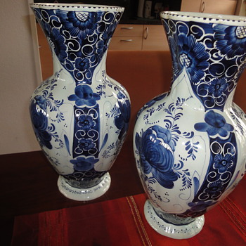 Two large handpainted Delft Blue Vases  - Pottery