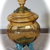 3 legged covered glass candy dish?   2 colors, blown glass?