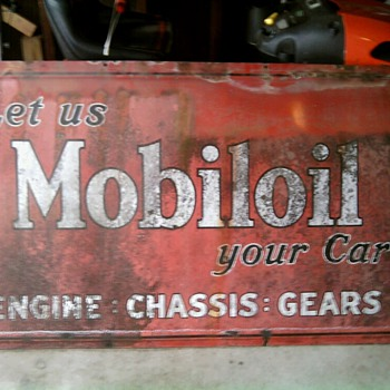 Antique Mobiloil Metal Sign - Petroliana
