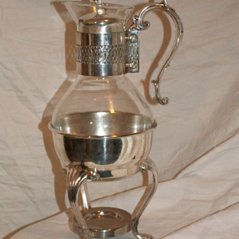 Vintage F.B. Rogers Silver Coffee Carafe W/ Warmer Stand - Silver