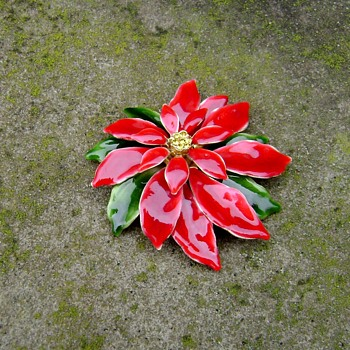 Vintage Poinsettia Pin