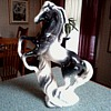 Amazing Black and White Rearing Horse Figure/Marked USA #1155/ Circa 1950-60