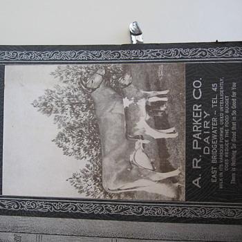 1940 A.R. Parker Dairy E. Bridgewater Ma. Calender Menu and Recipes - Advertising