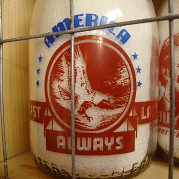 SANITARY DAIRY...WARREN OHIO...CREAMTOP WAR SLOGAN....EAGLE - Bottles
