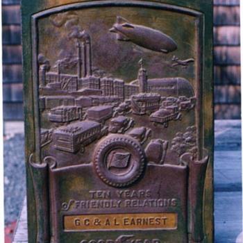 Antique Bronze Goodyear Dealer Plaque - Signs