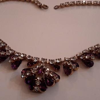 1950s rhinestone necklace - Costume Jewelry