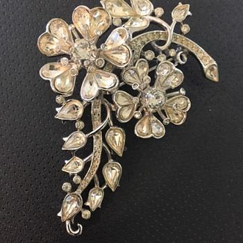 Trifari Pat Pend Rhinestone Flower Brooch - Costume Jewelry