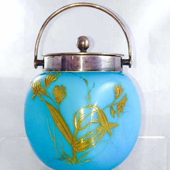 "Loetz Enamelled  Pinched Blue Opal ""Tango"" Handled Candy Dish  - Art Nouveau"