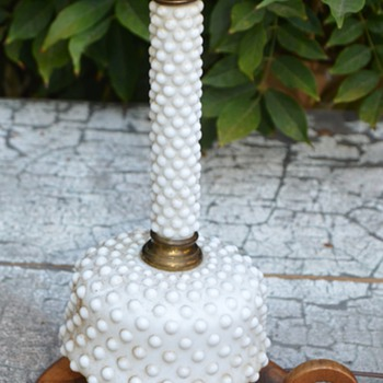 White knobby glass - what is it called? Lamp.