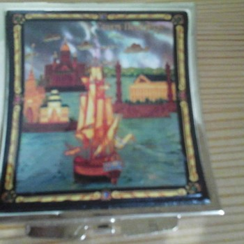 Small Folding Mirror With Harbour Scene