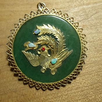 18k Gold and Jade Pendant - Fine Jewelry