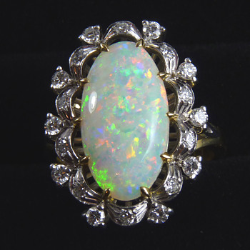 Circa 1980's Opal & Diamond Cocktail Ring, mystery maker GDNS - Fine Jewelry