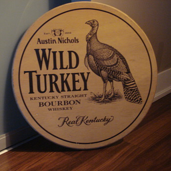 VINTAGE WILD TURKEY STRAIGHT BOURBON WHISKEY ADVERTISING SIGN - Signs